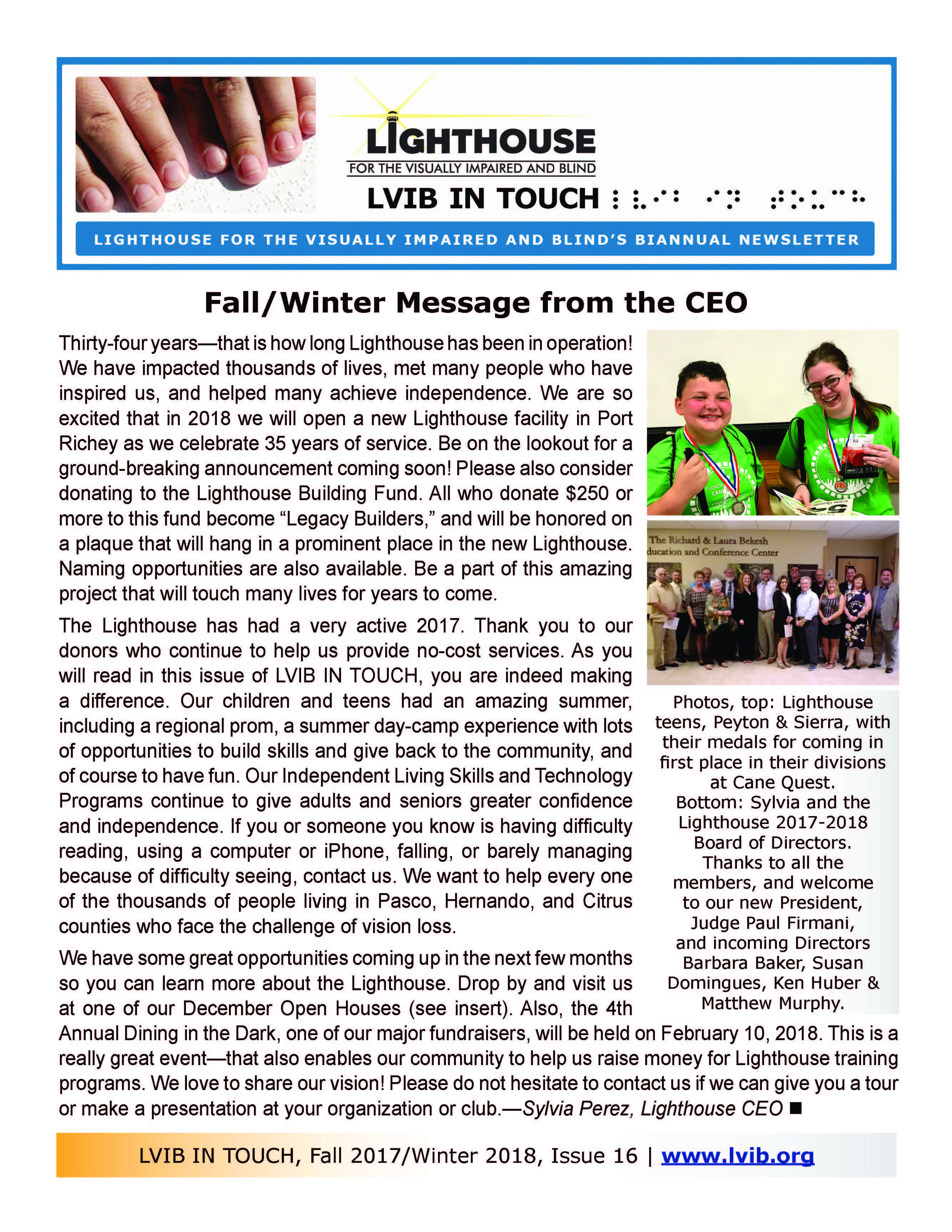 Current newsletter first page